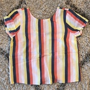 Striped blouse with button back